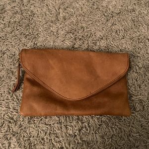 J. Crew leather envelope clutch in camel